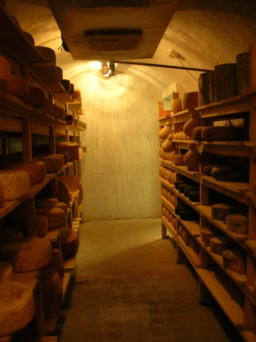 Walls of one of the cheese caves