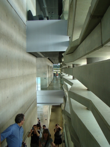 Interior staircase in the Peres Center for Peace